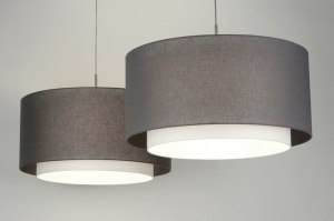 hanglamp 30420 modern eigentijds klassiek landelijk rustiek grijs taupe stof rond langwerpig