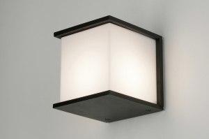 wandlamp 30466 design landelijk rustiek modern aluminium kunststof polycarbonaat slagvast zwart mat vierkant