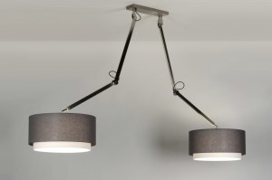 hanglamp 30510 landelijk rustiek modern stof grijs taupe