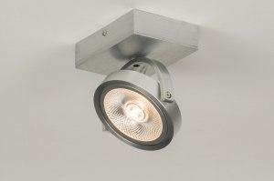 plafondlamp 30532 modern design aluminium aluminium geschuurd aluminium metaal rond