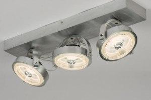 plafondlamp 30535 design modern aluminium geschuurd aluminium metaal aluminium rond langwerpig rechthoekig