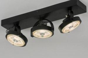 spot 30540 modern design industrie look zwart mat aluminium metaal langwerpig