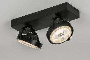 plafondlamp 30541 modern design zwart mat aluminium metaal rechthoekig rond