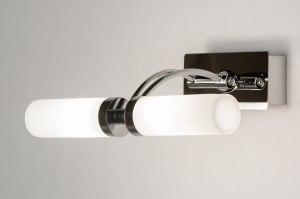 wandlamp 30545 modern chroom glas wit opaalglas rechthoekig