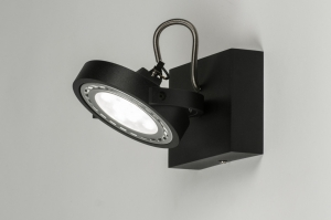 spotlight 30598 designer modern aluminium black matt round square