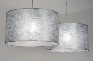 pendant light 30624 rustic modern contemporary classical fabric grey silvergray round oblong