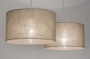 pendant light 30625 rustic modern contemporary classical fabric taupe colored round oblong