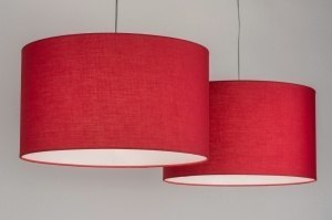 pendant light 30626 rustic modern fabric red round oblong
