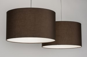 pendant light 30629 rustic modern contemporary classical fabric brown round oblong