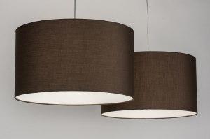 hanglamp 30629 landelijk rustiek modern eigentijds klassiek stof bruin rond langwerpig
