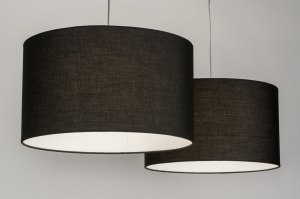 pendant light 30630 rustic modern fabric black round oblong