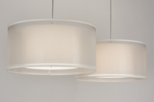 pendant light 30652 rustic modern contemporary classical fabric white cream round oblong