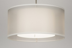 pendant light 30653 rustic modern contemporary classical fabric white cream round