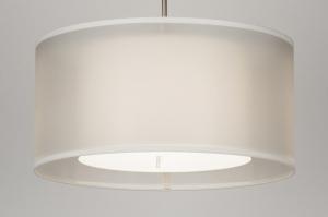 hanglamp 30653 landelijk rustiek modern eigentijds klassiek stof wit creme rond