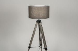 vloerlamp 30704 industrie look landelijk rustiek modern stoer raw hout stof grijs hout