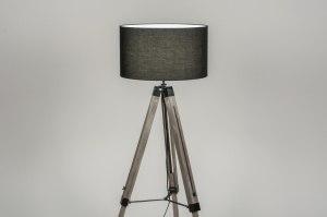 Stehleuchte 30705 Industrielook laendlich rustikal modern coole Lampen grob Holz Stoff schwarz Holz
