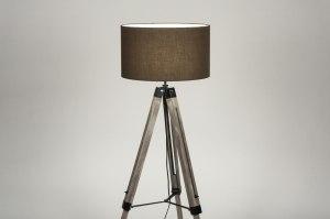 vloerlamp 30707 industrie look landelijk rustiek modern stoer raw hout stof bruin hout