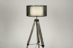vloerlamp 30708 landelijk rustiek modern stoer raw hout stof zwart hout