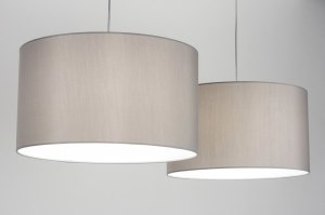 pendant light 30714 rustic modern contemporary classical stainless steel fabric grey round oblong