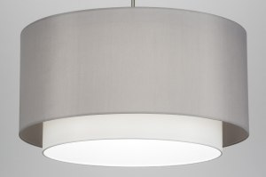 pendant light 30719 rustic modern fabric grey round
