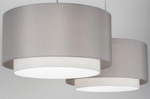 hanglamp 30720 modern eigentijds klassiek landelijk rustiek grijs stof langwerpig rond