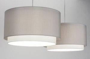 hanglamp 30723 modern eigentijds klassiek landelijk rustiek grijs staal rvs stof langwerpig rond