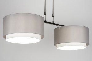 pendant light 30727 rustic modern stainless steel fabric grey