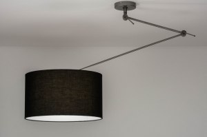 pendant light 30729 industrial look modern fabric metal black grey dark gray