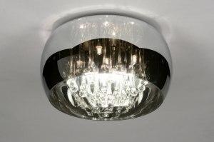 plafondlamp 30730 landelijk rustiek modern glas kristal kristalglas chroom rond