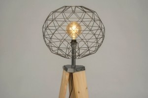 vloerlamp 30731 modern stoer raw grijs hout hout licht hout metaal staal rvs rond