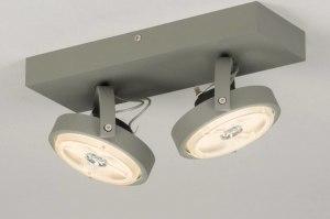 plafondlamp 30732 industrie look modern stoer raw aluminium metaal betongrijs langwerpig