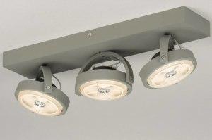 plafondlamp 30733 industrie look modern stoer raw aluminium metaal betongrijs langwerpig