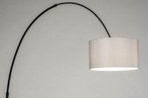 vloerlamp 30736 modern retro grijs zwart mat metaal stof rond