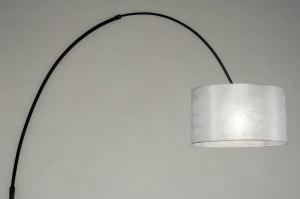 vloerlamp 30737 modern retro zilvergrijs zwart mat metaal stof rond