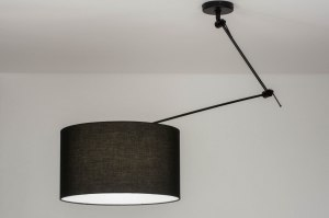 hanglamp 30738 landelijk rustiek modern stof metaal zwart mat rond