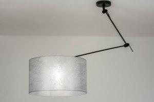 hanglamp 30739 landelijk rustiek modern stof metaal zwart mat zilvergrijs rond
