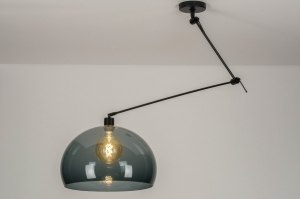 pendant light 30740 modern retro glass plastic metal black matt round