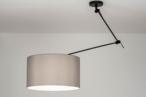 pendant light 30741 rustic modern fabric metal black matt grey