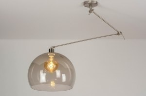 pendant light 30747 modern retro stainless steel plastic acrylate metal brown steel gray round