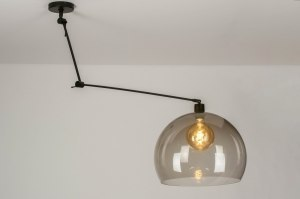pendant light 30749 modern retro plastic acrylate metal black matt brown round