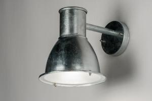 wall lamp 30756 modern rustic industrial look raw galvanised steel galvanised thermally metal zinc round