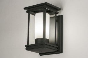 wall lamp 30757 modern contemporary classical rustic dark gray aluminium glass white opal glass metal rectangular