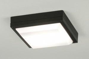 plafondlamp 30762 modern aluminium kunststof polycarbonaat slagvast metaal zwart vierkant