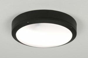 plafondlamp 30763 modern aluminium kunststof polycarbonaat slagvast metaal zwart rond