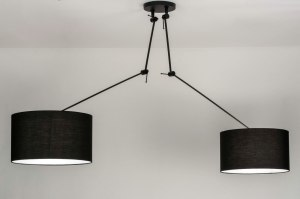 pendant light 30764 modern fabric metal black matt
