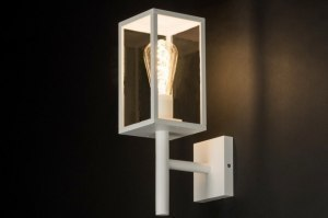 wall lamp 30767 modern contemporary classical rustic white matt aluminium glass clear glass metal lantern rectangular