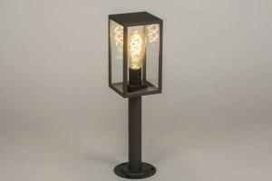 vloerlamp 30771 landelijk rustiek modern glas helder glas aluminium metaal zwart mat rechthoekig