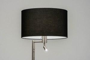 lampadaire 30775 moderne acier poli etoffe acier noir gris d acier
