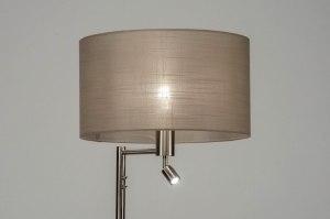 vloerlamp 30777 modern staal rvs stof metaal staalgrijs taupe