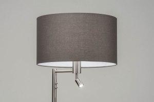 vloerlamp 30778 modern staal rvs stof metaal grijs staalgrijs